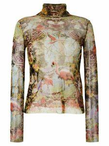Jean Paul Gaultier Pre-Owned sheer tropical print turtleneck top -