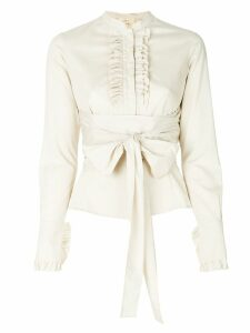 Romeo Gigli Pre-Owned ruffled trim belted shirt - Neutrals