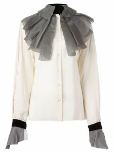 Gianfranco Ferre Pre-Owned pleated collar and cuffs shirt - Neutrals