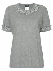 Chanel Pre-Owned tweed-trim short-sleeve T-shirt - Grey