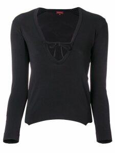 Romeo Gigli Pre-Owned tied v-neck blouse - Black