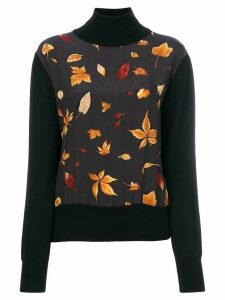 Salvatore Ferragamo Pre-Owned leaf print knitted top - Black