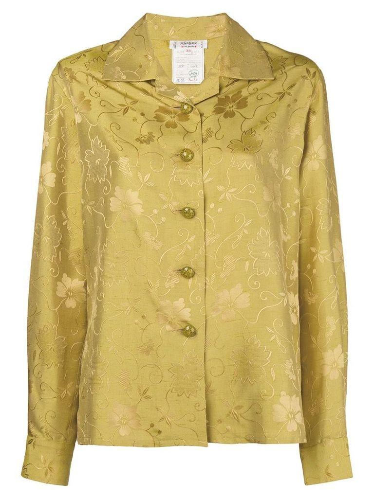 Yves Saint Laurent Vintage floral jacquard open collar shirt - Yellow