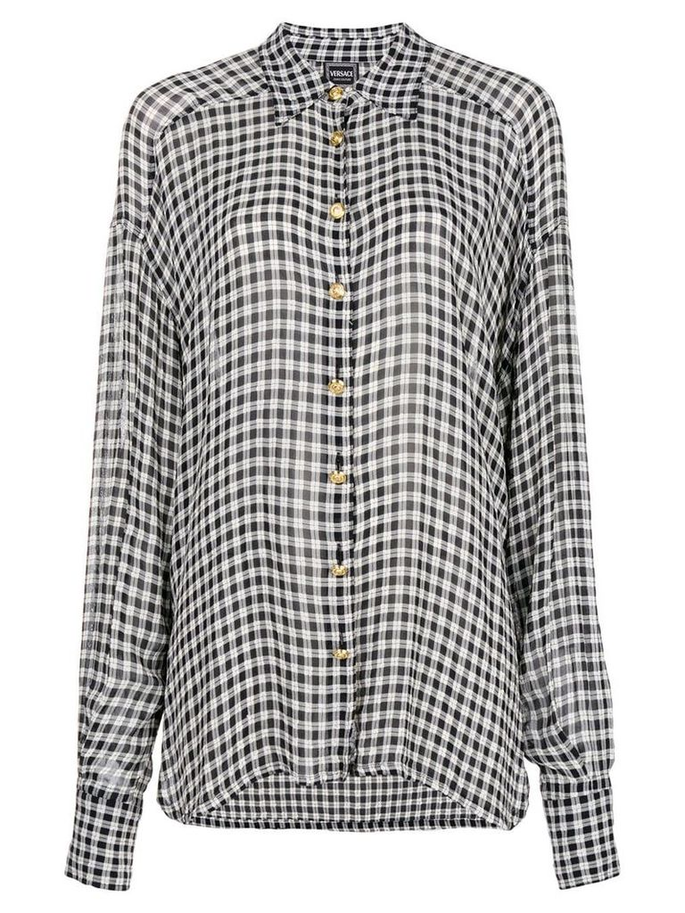 Versace Vintage gingham checked shirt - Black