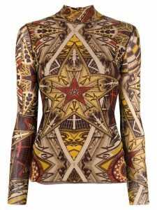 Jean Paul Gaultier Pre-Owned star print turtleneck top - Brown
