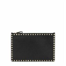 Valentino Garavani Rockstud Black Leather Zip Pouch