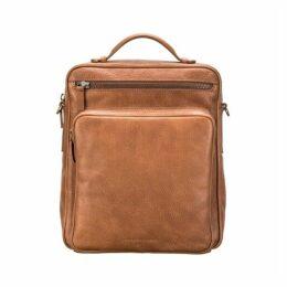Maxwell Scott Bags Mens Large Camel Leather Backpack - Shoulder Bag
