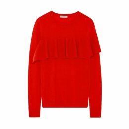 Ille De Cocos Merino Ruffle Sweater - Tomato Red- Gold