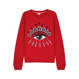 Kenzo Red Eye-embroidered Cotton Sweatshirt