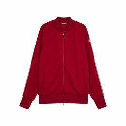 Moncler Dark Red Striped Jersey Sweatshirt