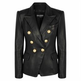 Balmain Black Double-breasted Leather Blazer