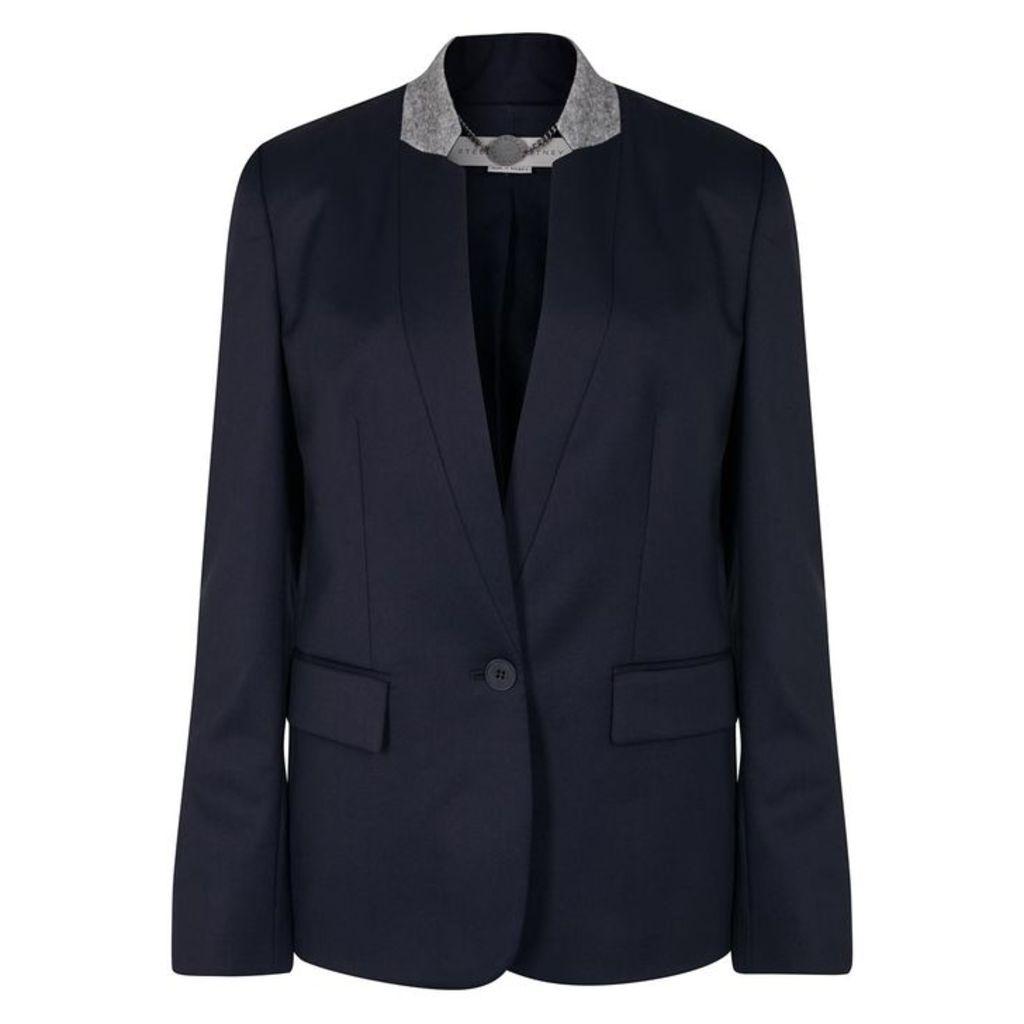 Stella McCartney Fleur Navy Wool Blazer