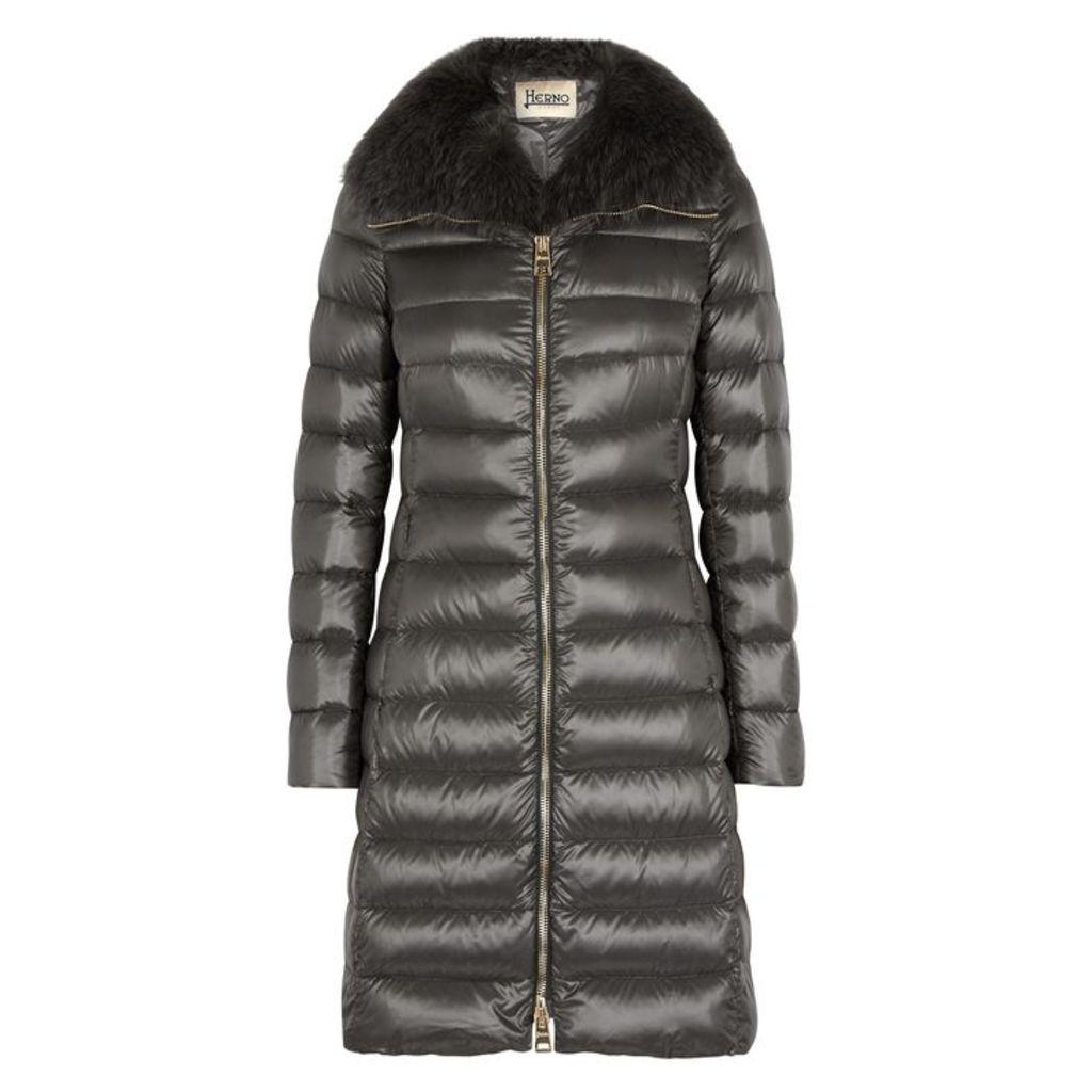 Herno Iconic Elisa Fur-trimmed Shell Coat