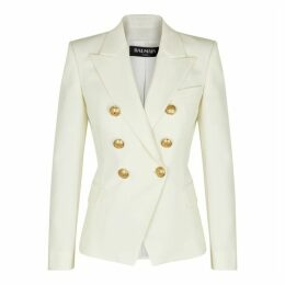 Balmain Ivory Double-breasted Wool Blazer