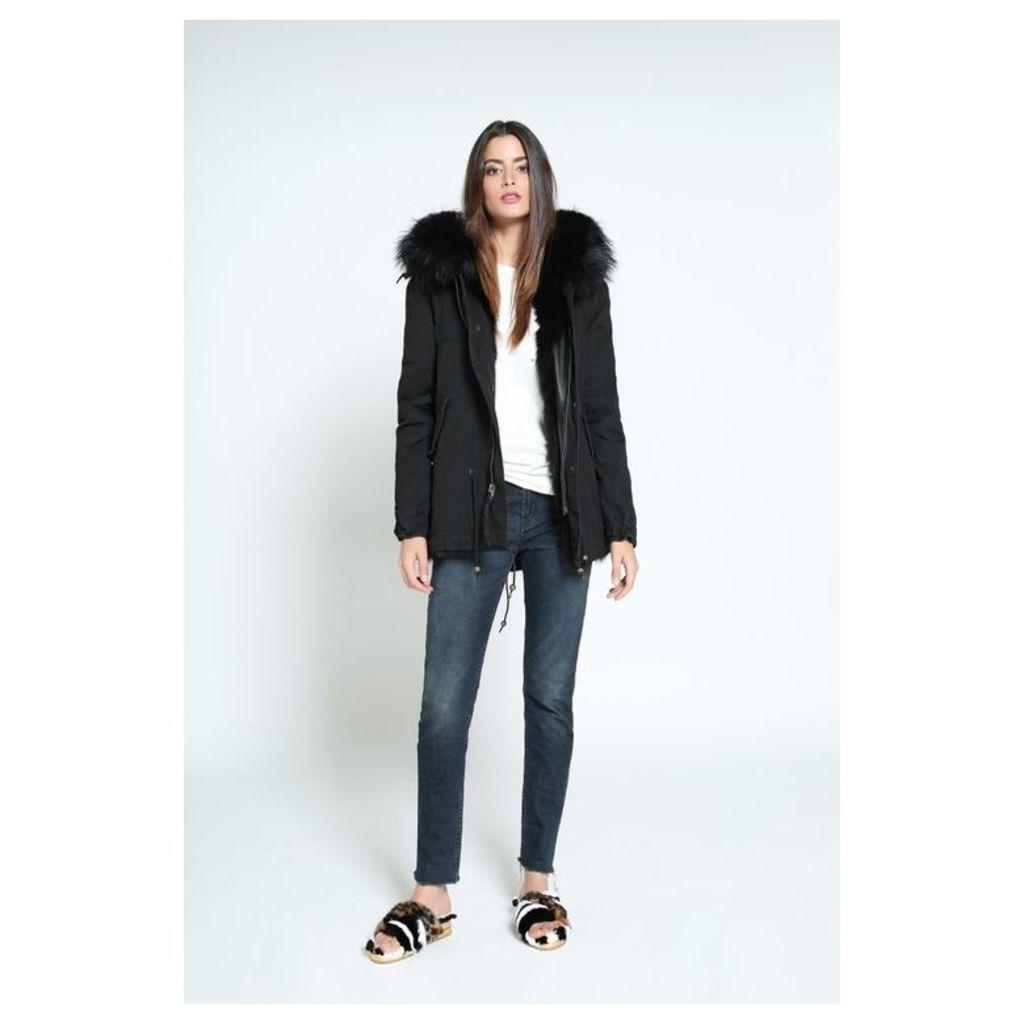 Mr & Mrs Italy Black Mini Parka Patch Fox Fur