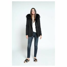 Mr & Mrs Italy Black Mini Parka Patch Fox Fur