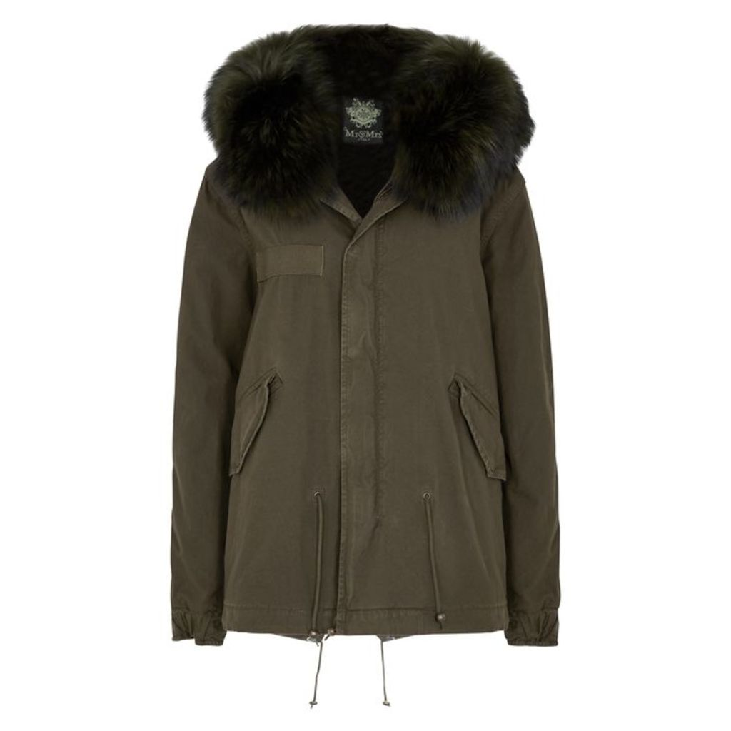 Mr & Mrs Italy Green Fur-trimmed Cotton Parka