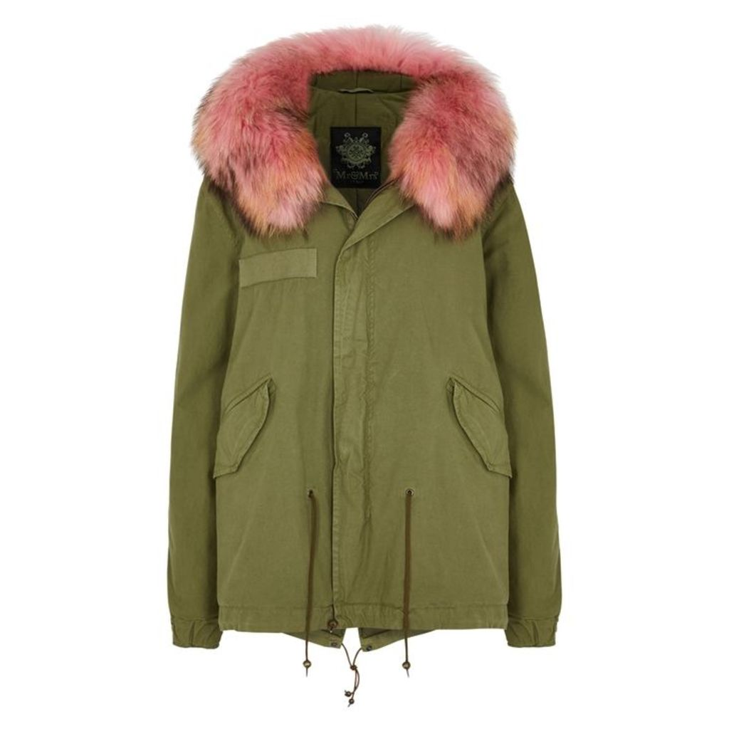 Mr & Mrs Italy Army Green Fur-trimmed Cotton-blend Parka