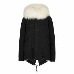 Mr & Mrs Italy Black Fur-trimmed Cotton Parka