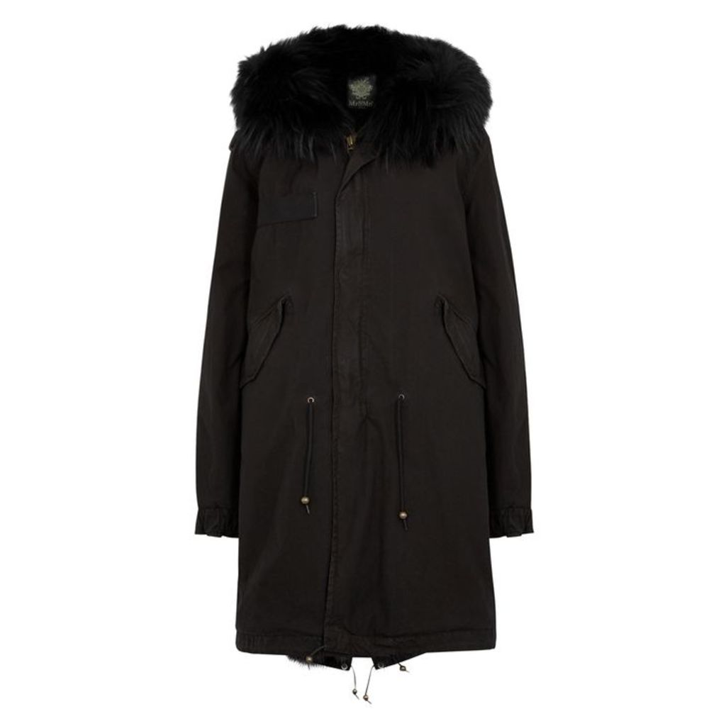 Mr & Mrs Italy Black Fur-trimmed Cotton Parka