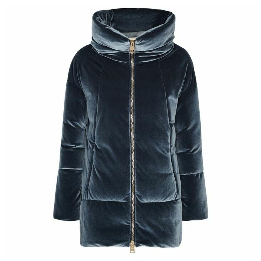 Herno Blue Quilted Stretch-velvet Coat