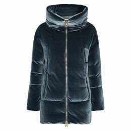 Herno Blue Quilted Stretch-velvet Coat