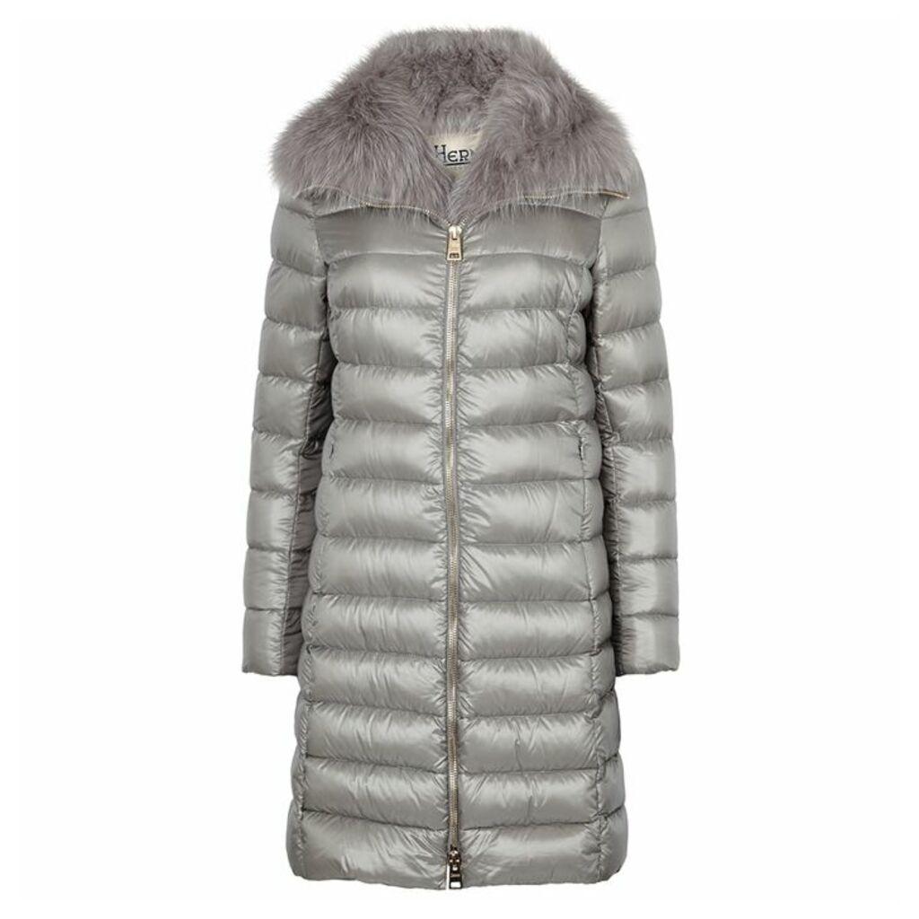 Herno Grey Fur-trimmed Shell Coat