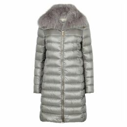 Herno Grey Fur-trimmed Shell Coat