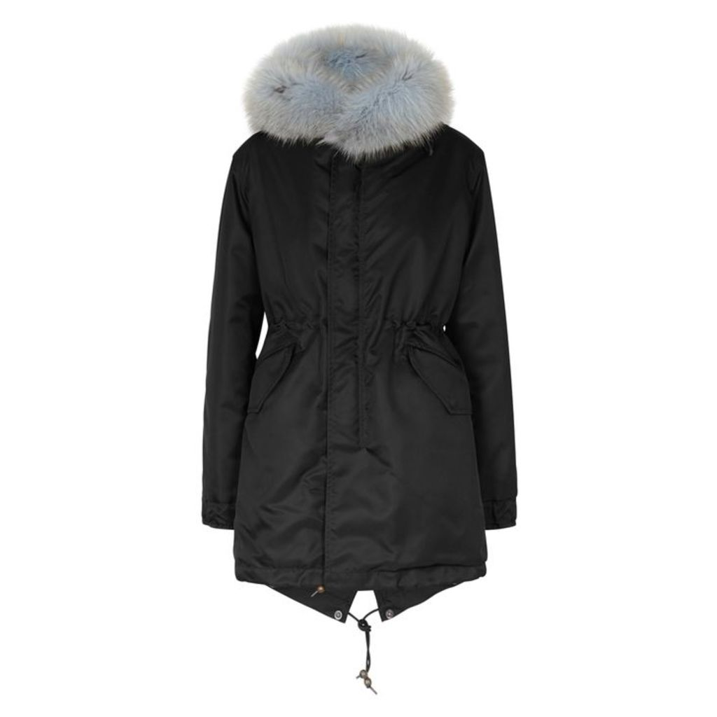 Mr & Mrs Italy Black Fur-lined Shell Parka
