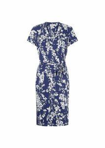 Delilah Wrap Dress Blue Ivory