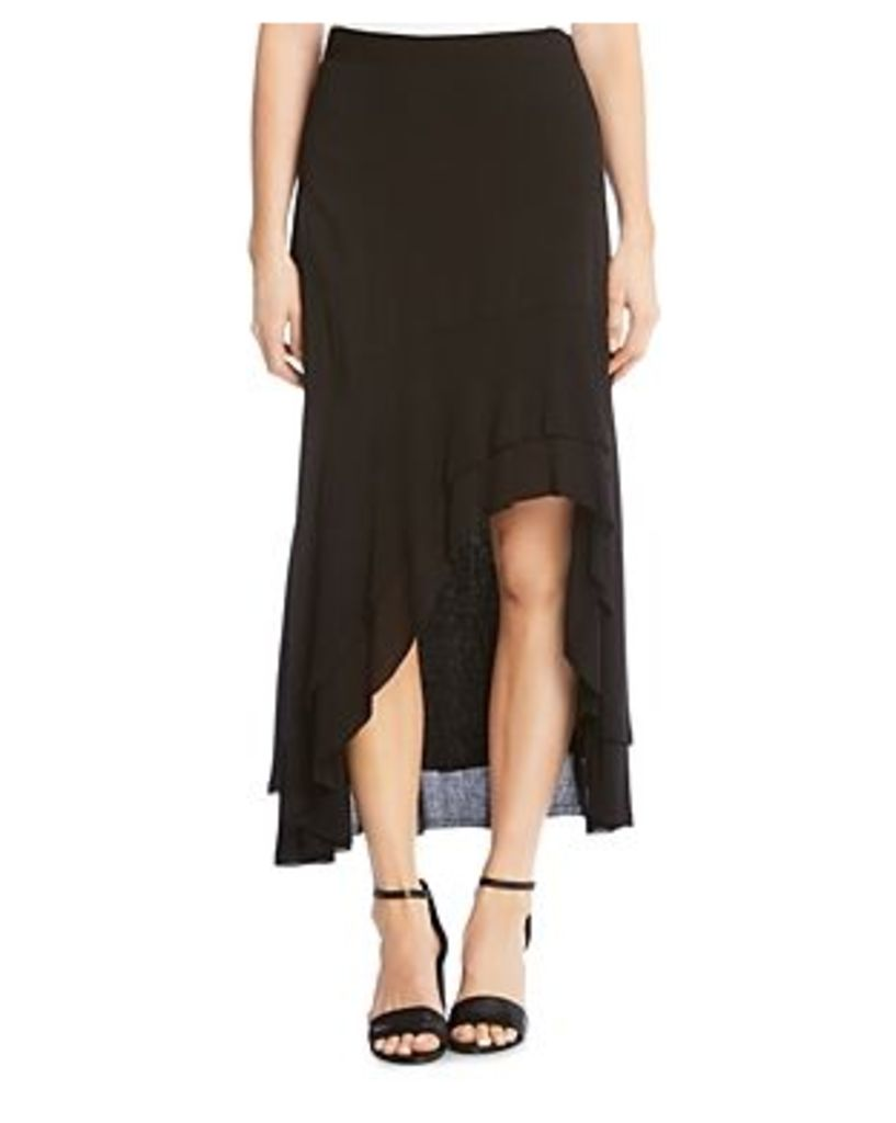 Karen Kane Tiered High/Low Raw-Hem Skirt