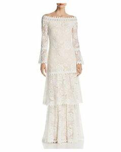Tadashi Shoji Off-the-Shoulder Lace Gown