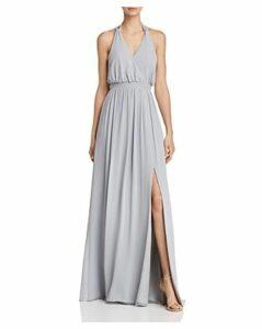 Watters Fleurette Draped Chiffon Gown