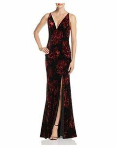 Aqua Floral Print Velvet V-Neck Gown - 100% Exclusive