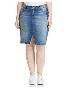 Slink Jeans Plus Shadow Mix Denim Pencil Skirt in Gwen