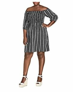 City Chic Plus Stripe Play Off-the-Shoulder Dress