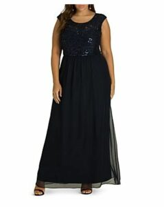 City Chic Plus Sweet Love Sequined Lace & Chiffon Maxi Dress