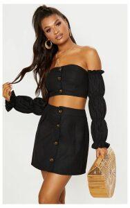 Black Cotton Button Detail Mini Skirt, Black