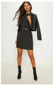 Black Polka Dot Oversized T Shirt Dress, Black