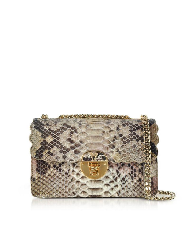 Ghibli Designer Handbags, Python Leather Chain Shoulder Bag