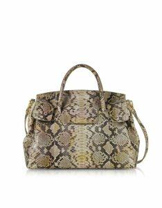 Ghibli Designer Handbags, Python Leather Large Satchel Bag