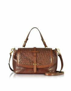 The Bridge Designer Handbags, Salinger Woven Leather Medium Satchel Bag