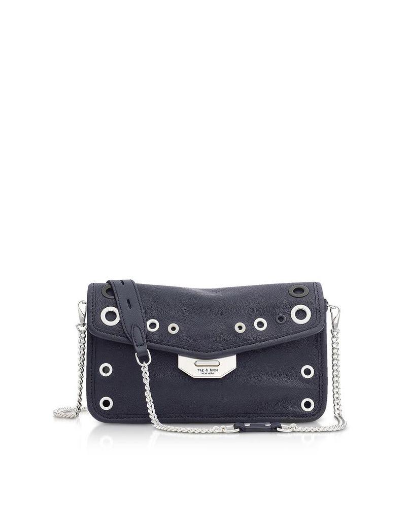 Rag & Bone Designer Handbags, Navy Blue Leather Grommet Field Clutch
