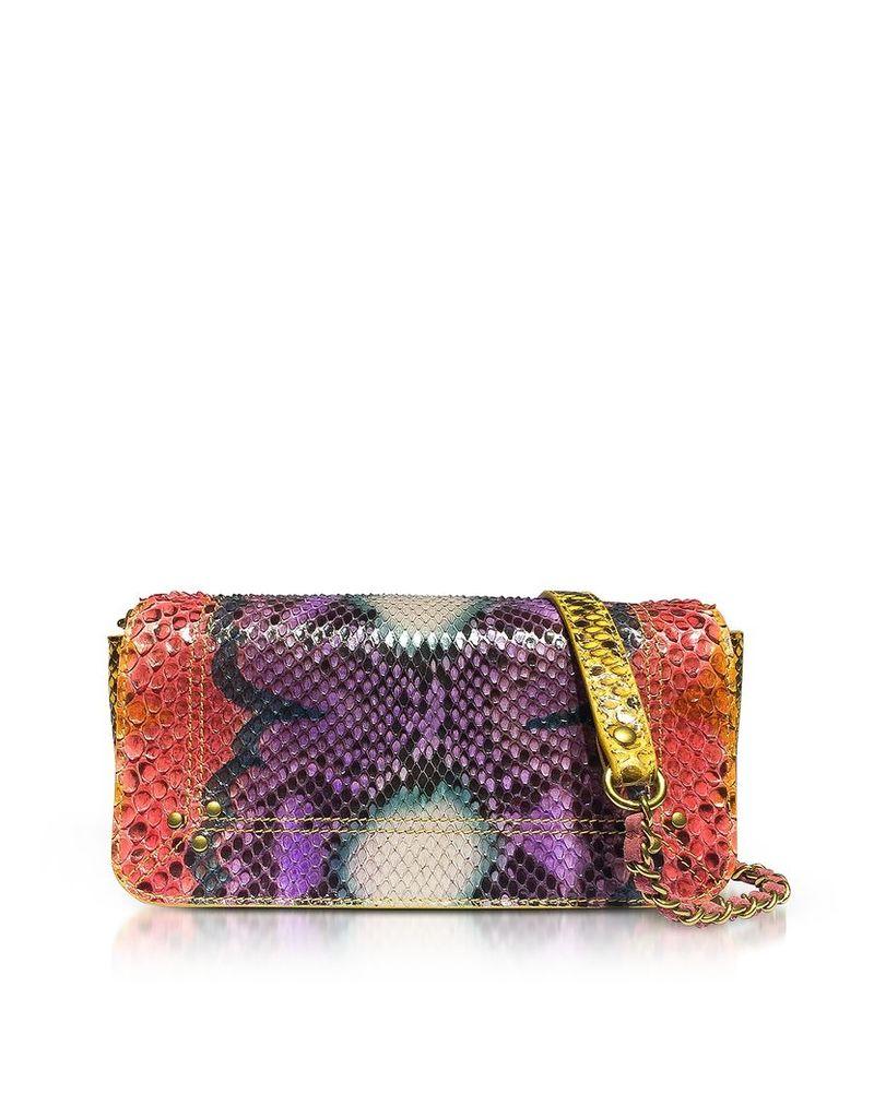 Jerome Dreyfuss Designer Handbags, Bob Nirvana Printed Python Leather Shoulder Bag