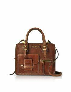 The Bridge Designer Handbags, Brown Genuine Leather Mini Tote Bag