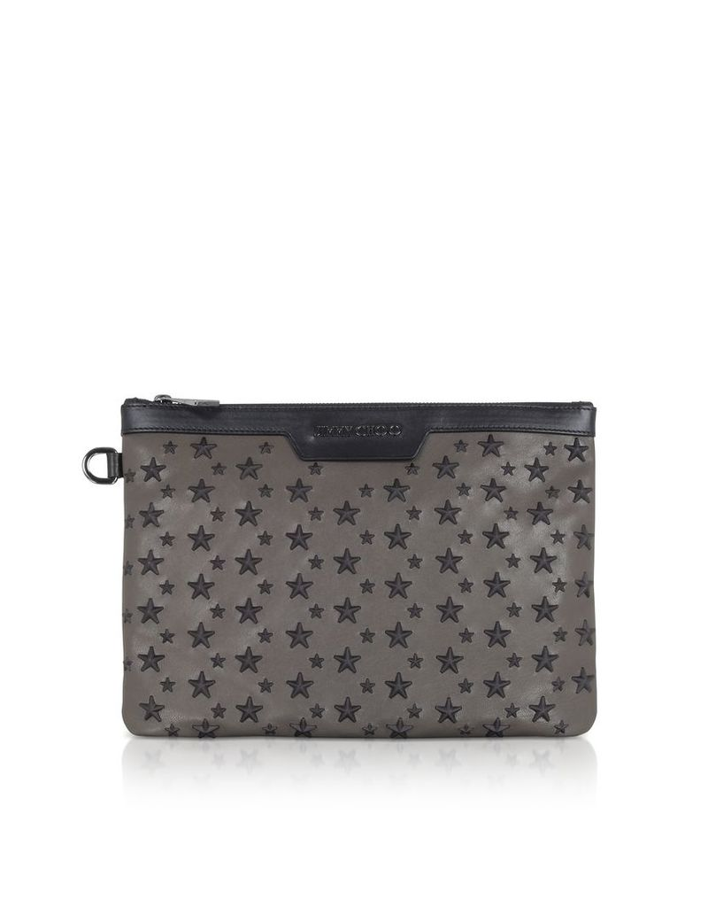Jimmy Choo Designer Handbags, Smoke/Black Derek/S Small Clutch w/Stars