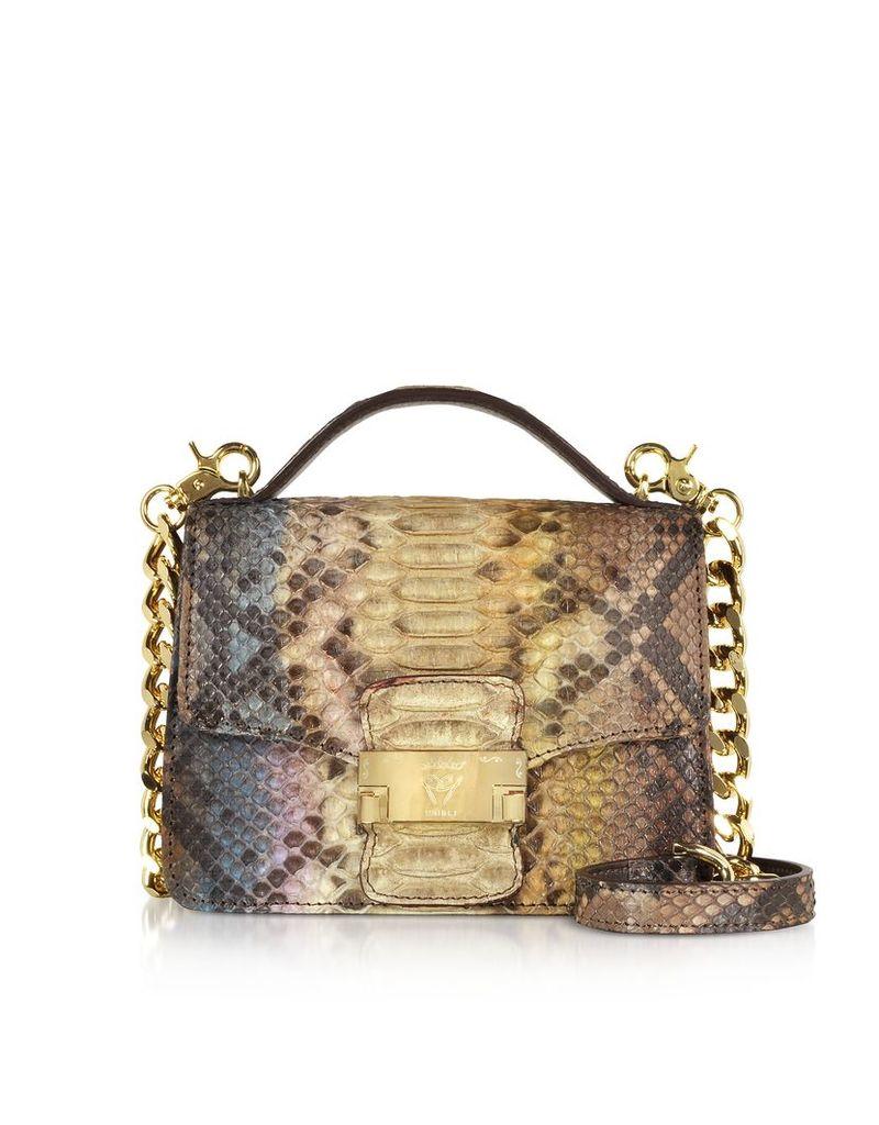 Ghibli Designer Handbags, Brown Paillette Python Leather Crossbody Bag