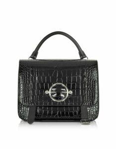 JW Anderson Designer Handbags, Black Croco Embossed Leather Disc Satchel Bag