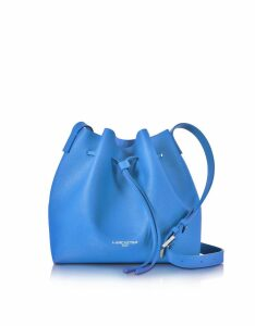 Lancaster Paris Designer Handbags, Pur Smooth Blue Leather Bucket Bag