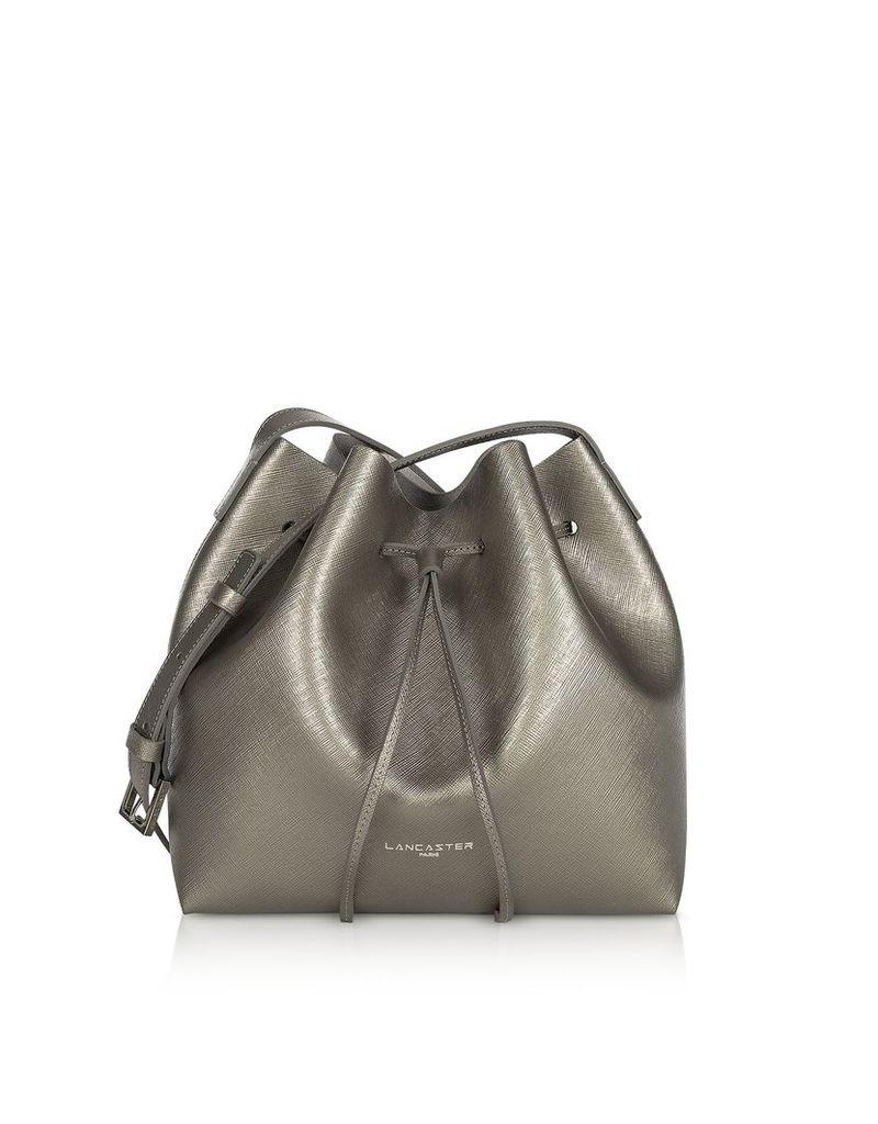 Lancaster Paris Designer Handbags, Pur & Element Metallic Saffiano Leather Small Bucket Bag